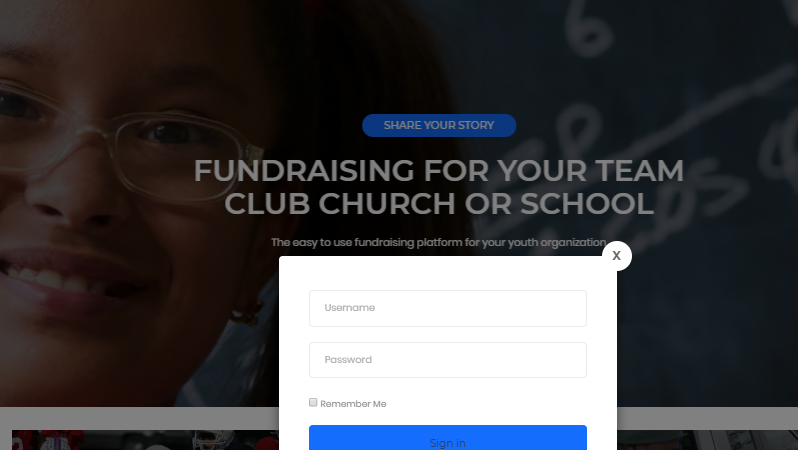 Logging in to Youth Funder